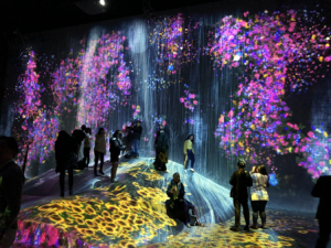 Students inside an art installation with projected light and floral motifs