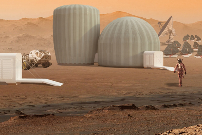 Rendering of dome-shaped buildings on Martian landscape