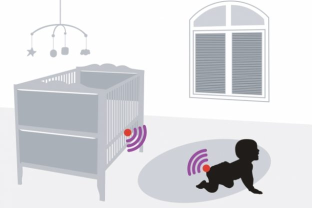 Drawing of baby in nursery with wifi symbols on crib and baby's diaper