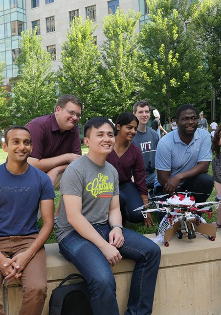 Students with a drone