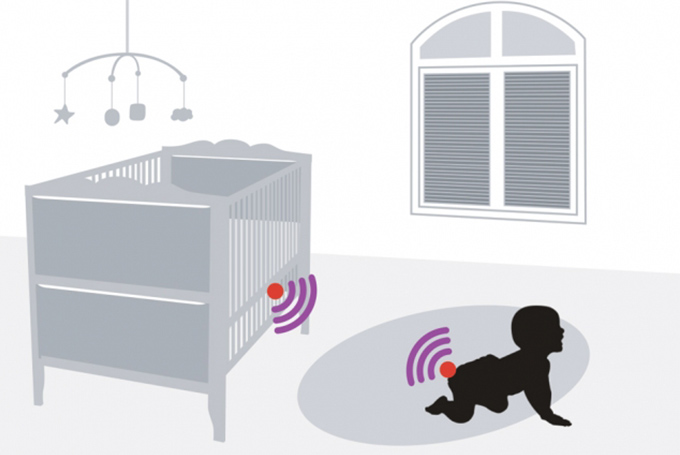 Graphic of infant in crib with wifi symbol emitting from diaper and wifi symbol on crib