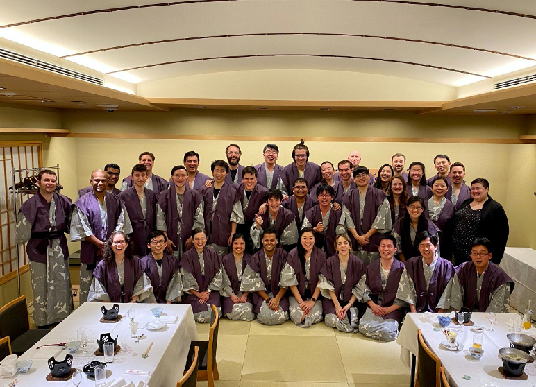 Students and MIT faculty and staff in Japanese traditional casual garments pose together