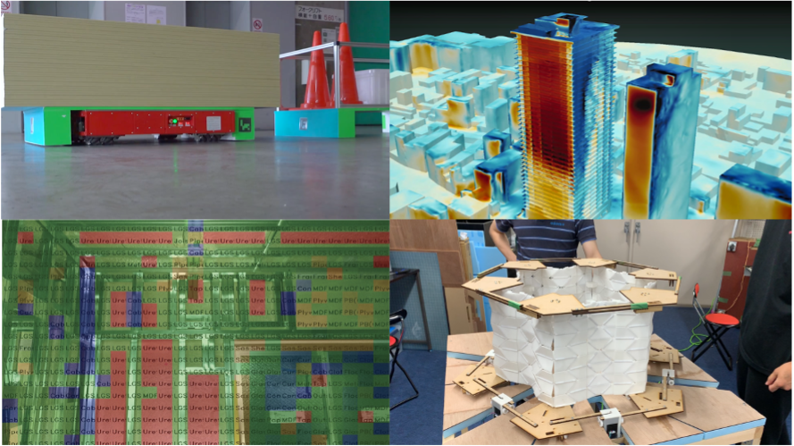 Image collage. Upper left: a pallet of wood on a robotic dolly. Upper right: a heat map of skyscrapers. Lower left: an illustration of code over a schematic. Lower right: a foldable model of a space station.